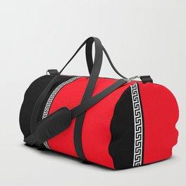 Greek Key 2 - Red and Black Duffle Bag