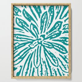 Blue Linocut Flower Textile Serving Tray