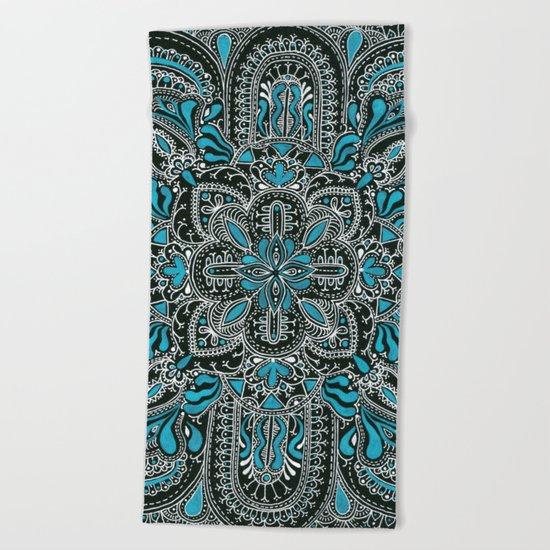 White turquoise symmetrical mandala line pattern Beach Towel