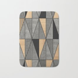 Concrete and Wood Triangles Bath Mat