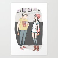 barcelona Art Prints featuring Barcelona by Laura Perez Illustration
