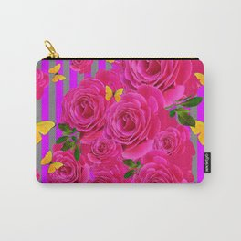 PINK GARDEN ROSES & YELLOW BUTTERFLIES MODERN ART FROM SOCIETY6   BY SHARLESART. Carry-All Pouch