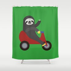 Sloth on Tricycle Shower Curtain