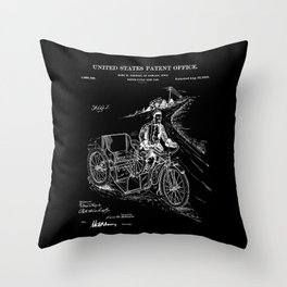 Motorcycle Sidecar Patent - Black Throw Pillow