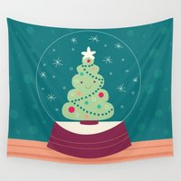christmas tree Wall Tapestries featuring Christmas Tree by Claire Lordon