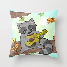 Serenading Raccoon Throw Pillow