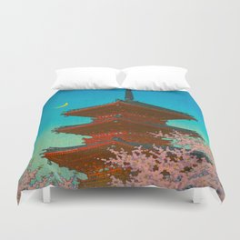 Vintage Japanese Woodblock Print Pastel Colors Blue pink Teal Shinto Shrine Cherry Blossom Tree Duvet Cover