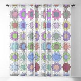 Pop art flowers procedurally generated Sheer Curtain