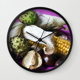 Atumnal Still Life with Chestnut and Corn Wall Clock