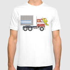 Robot's Wrong Disguise White Mens Fitted Tee MEDIUM