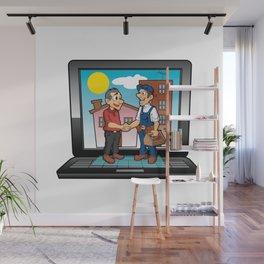 contractor handshake on laptop Wall Mural