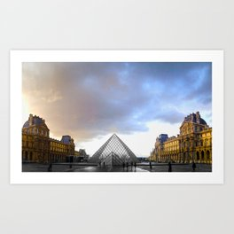 Paris Louvre black and white with color Art Print