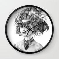 fleur de lis Wall Clocks featuring Fleur De Lis by April Alayne