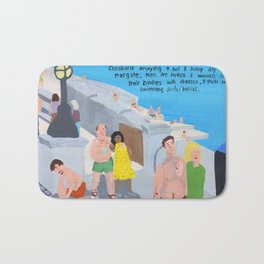 Bad Painting 60: Holiday makers on Margate Sands Bath Mat