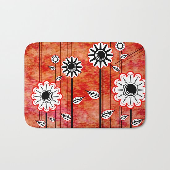 Retro Flowers on textured red Bath Mat