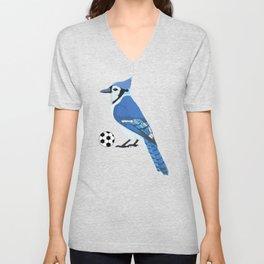 Soccer Blue Jay Unisex V-Neck