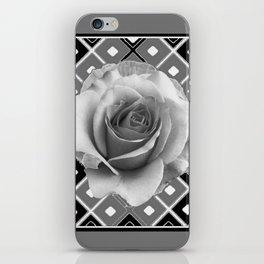 Art Deco White Rose Black-White-Grey Art iPhone Skin