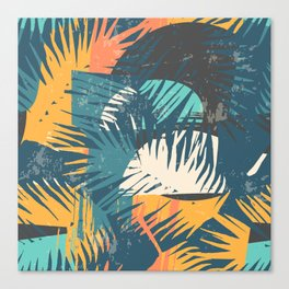 ABSTRACT TROPICAL SUNSET with palm leaves Canvas Print