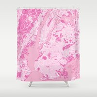 new york map Shower Curtains featuring New York Map - Pink by PinkMaps