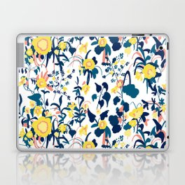 Buttercup yellow, salmon pink, and navy blue flowers on white background pattern Laptop & iPad Skin