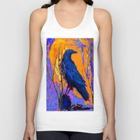 blankets Tank Tops featuring Blue Raven Orange Moon Night Art by SharlesArt