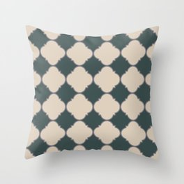Ornamental Moroccan Sourdough Tan Beige & Night Watch Tile Pattern with Magic Dust Purple Throw Pillow