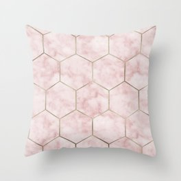 Cloudy pink marble hexagons Throw Pillow