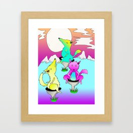 three wolf toilet moon Framed Art Print