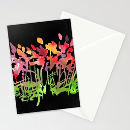 Wild Flowers on Black Stationery Cards