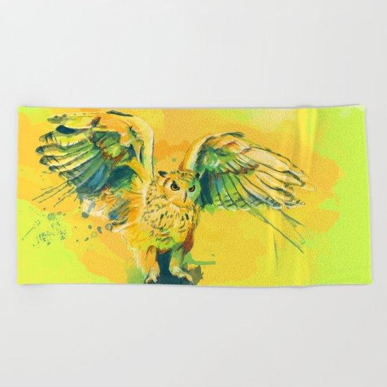 Silent Wings - Owl painting Beach Towel