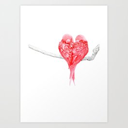 Red Heart Birds Love Art Print