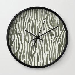 Simply Bonsai Lines in Green Tea and Lunar Gray Wall Clock
