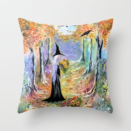 """""""Autumn Forest"""" Witch in colorful forest Throw Pillow"""