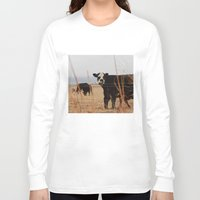 cows Long Sleeve T-shirts featuring Moo Cows by Artwork by Brie