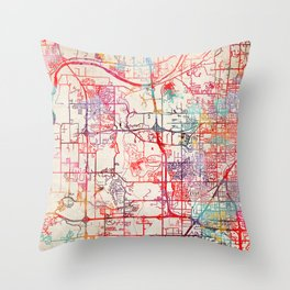 Shawnee map Kansas KS Throw Pillow