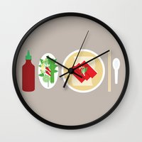 sriracha Wall Clocks featuring Sriracha Meal by I Ate My Pencil