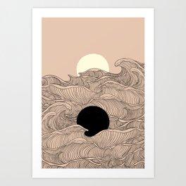 Abstract landscape yin yang moon & sun ocean wave  Art Print