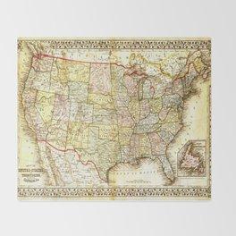 1867 USA Map Throw Blanket