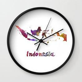 Indonesia in watercolor Wall Clock