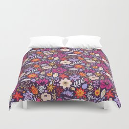 Boho Floral Pattern with Gold Accents Duvet Cover