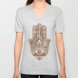 Hamsa Hand Faded Colour Unisex V-Neck