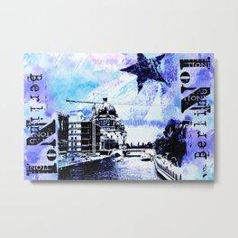 Berlin urban blue mixed media art Metal Print
