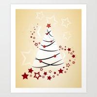 christmas tree Art Prints featuring christmas tree by Li-Bro