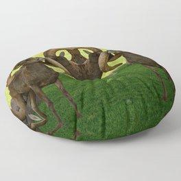 Entangled Horns - Desert Bighorn Rams Floor Pillow