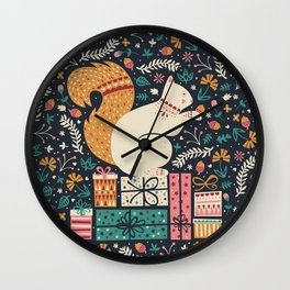 Merry Little Squirrel  Wall Clock