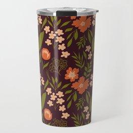 Warm Dark Floral Travel Mug