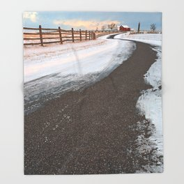 Winding Winter Road Throw Blanket