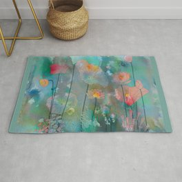 Water Lilies illustration watercolor painting  Rug