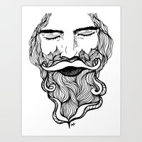 beard Art Prints featuring Beard  by Holly Harper