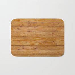 Barn Wall Made of Old Wooden Planks - Brown Bath Mat